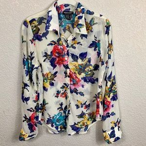about a girl Semi-Sheer Floral Button Up Shirt S